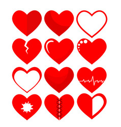 set of red hearts symbol on white stock vector image