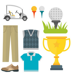 Set of stylized golf icons hobby equipment vector