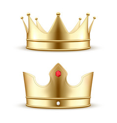 Set realistic gold crown vector