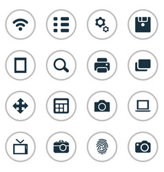 Set simple hardware icons vector