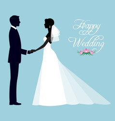 silhouette of a loving couple of newlyweds groom vector image