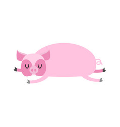 Sleeping pig farm animal is sleeping sleepy swine vector