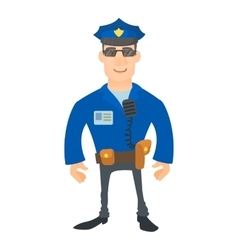 Smiling policeman icon cartoon style vector