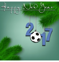 Soccer ball and 2017 on a Christmas tree branch vector image