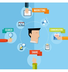 Social media marketing concept flat vector