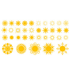 sun icons isolated yellow suns flat and sketch vector image