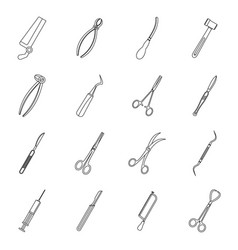 surgeons tools icons set outline style vector image