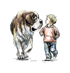 the boy is walking with a big dog on a white vector image
