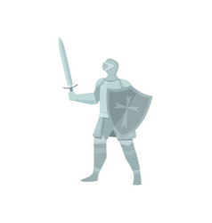 the figure of a knight in gray armor a sword and vector image