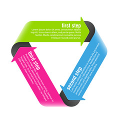 Three steps process arrows design element vector