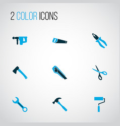 Tools icons colored set with hatchet scissors vector