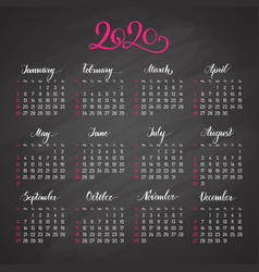 traditional view calendar layout for 2020 year vector image