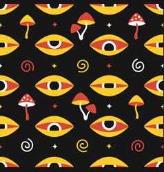 Trippy magic mushrooms and eyes seamless pattern vector