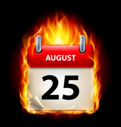 Twenty-fifth august in calendar burning icon on vector