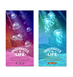 underwater colorful banners set vector image