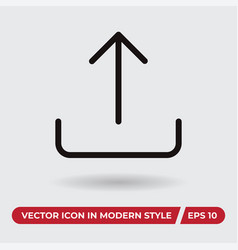 upload icon in modern style for web site and vector image