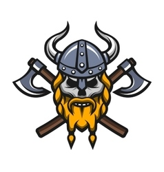 Viking warrior skull and axes logo vector image