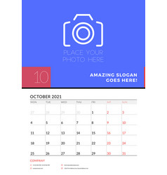 Wall calendar planner template for october 2021 vector