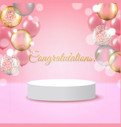 White round podium pedestal scene with pink vector