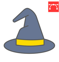 Witch hat color line icon halloween and scary vector