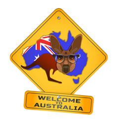 Yellow road sign with a cartoon kangaroo vector