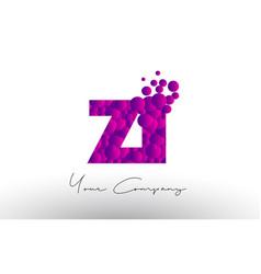 Zi z i dots letter logo with purple bubbles vector