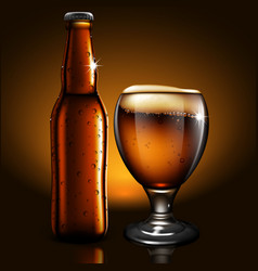 a bottle and glass of beer with droplets of vector image