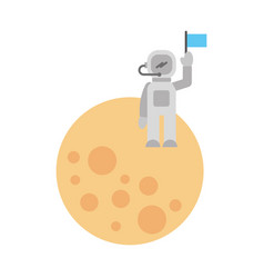 astronaut stand on the moon with flag space vector image