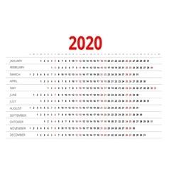 Calendar for 2020 vector image vector image
