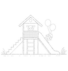 children are played on a slide outline vector image vector image