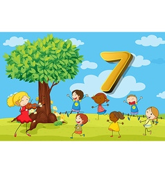Flashcard number 7 with seven children in the park vector image vector image