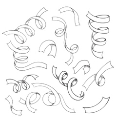 Hand drawn set of ribbons vector image