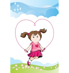 jumping girl in love vector image vector image