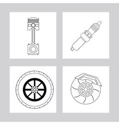 Machine and wheel icon Auto part design vector image vector image