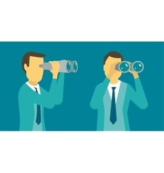 Person man looking ahead in the right through vector