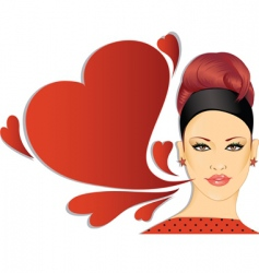 retro woman with speech bubble vector image vector image