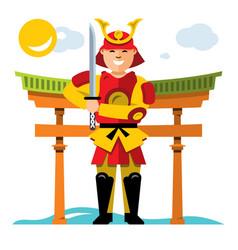 Samurai japan flat style colorful cartoon vector