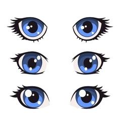 Blue Cartoon Anime Eyes Set vector image