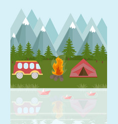 camping bus and tent in the mountains vector image