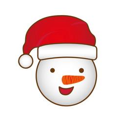 face cartoon snowman christmas design vector image