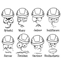 facial expressions and words on white background vector image vector image