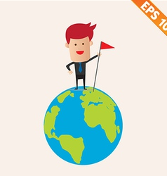 Business man standing on earth- - EPS10 vector image