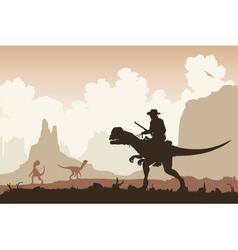Dinosaur rider vector image