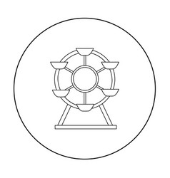 ferris wheel icon in outline style isolated on vector image
