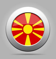 flag of macedonia shiny metal gray round button vector image vector image