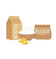 Flour set flat style isolated on a white vector