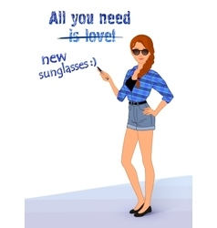 hipster girl wearing fashionable clothes vector image vector image
