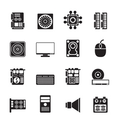 Silhouette Computer performance and equipment vector image vector image