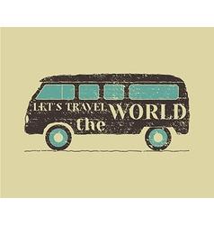 Summer vintage camp travel poster Vintage RV vector image