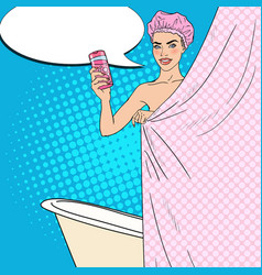 woman in bathroom with shower gel pop art vector image vector image